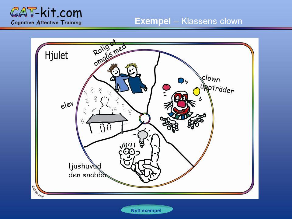 C ognitive A ffective T raining Exempel – Klassens clown elev Rolig at omgås med clown uppträder ljushuvud den snabba Nytt exempel