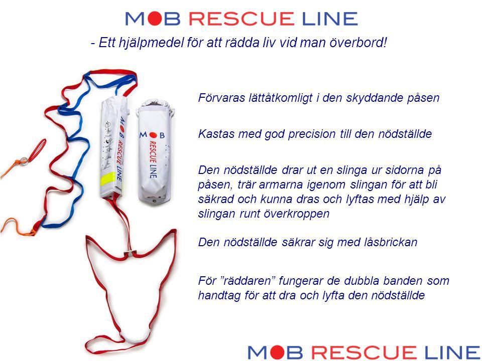 - Ett hjälpmedel för att rädda liv vid man överbord! Förvaras lättåtkomligt i den skyddande påsen Kastas med god precision till den nödställde Den nöd