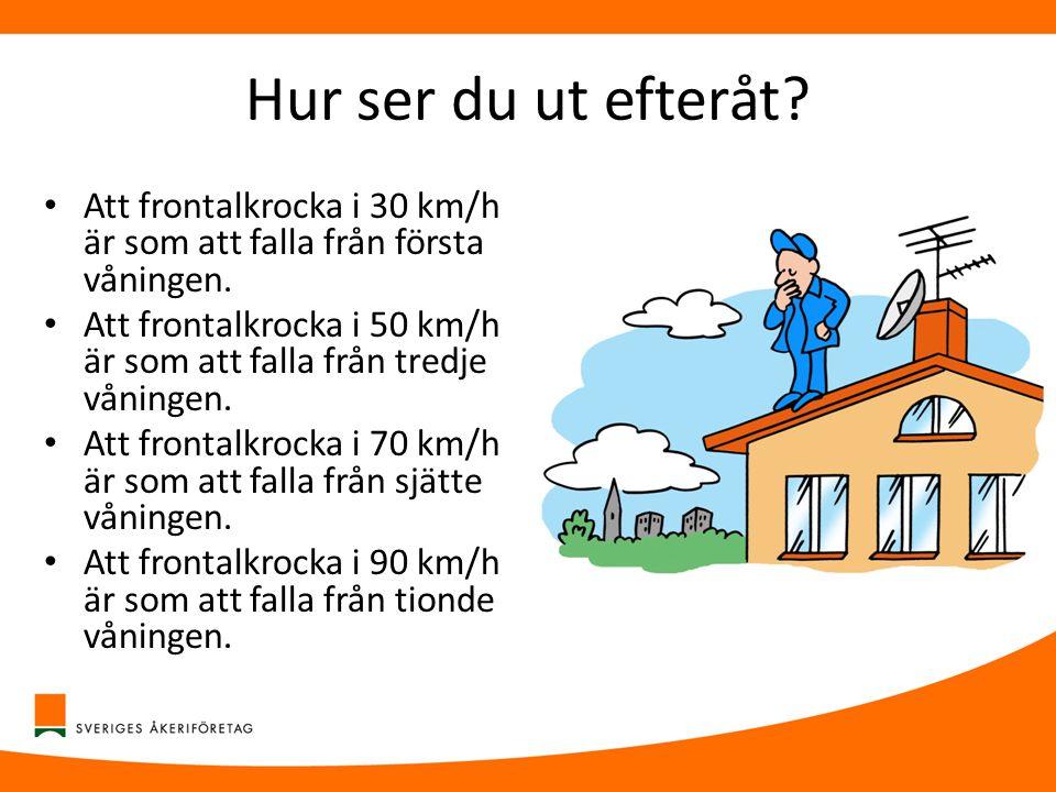 Hur ser du ut efteråt? • Att frontalkrocka i 30 km/h är som att falla från första våningen. • Att frontalkrocka i 50 km/h är som att falla från tredje