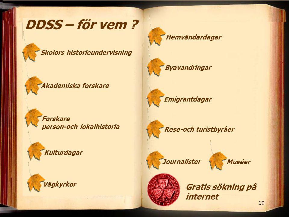 10 DDSS – för vem ? Skolors historieundervisningAkademiska forskare Forskare person-och lokalhistoria KulturdagarVägkyrkor HemvändardagarByavandringar