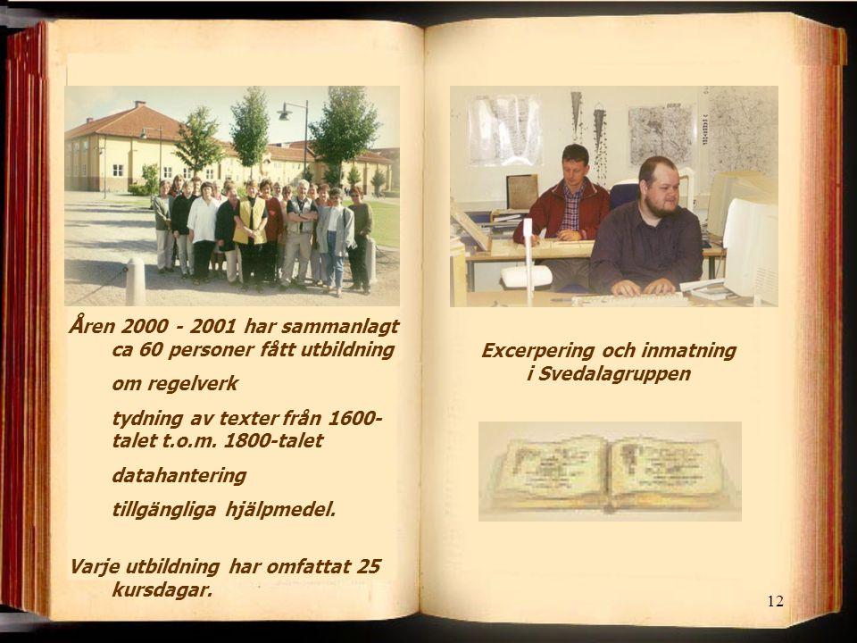 12 Å ren 2000 - 2001 har sammanlagt ca 60 personer fått utbildning om regelverk tydning av texter från 1600- talet t.o.m. 1800-talet datahantering til