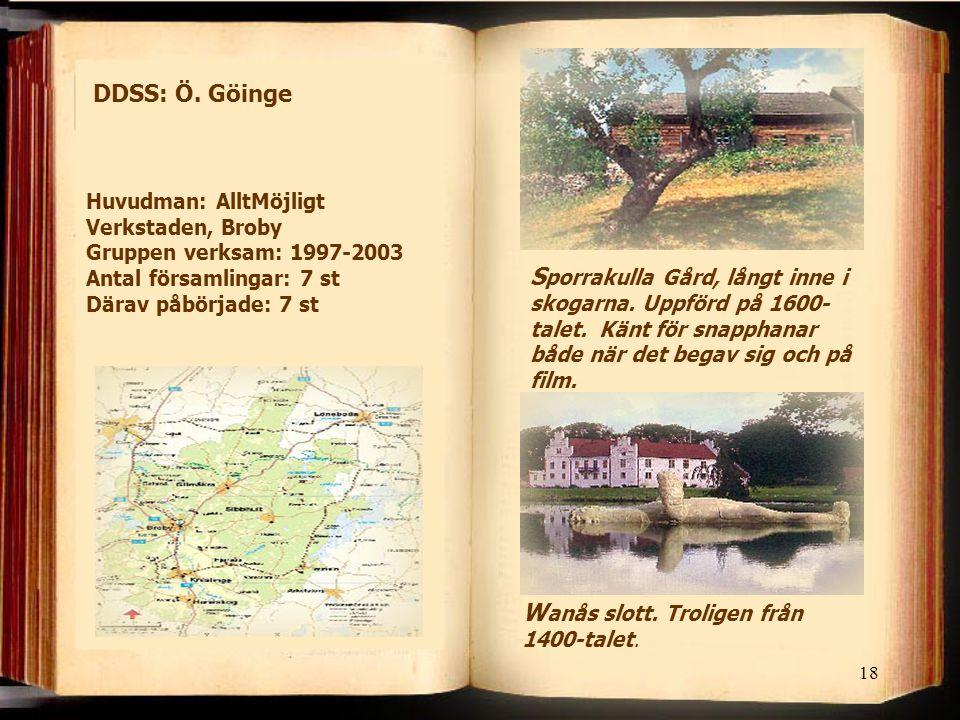 18 DDSS: Ö. Göinge S porrakulla Gård, långt inne i skogarna. Uppförd på 1600- talet. Känt för snapphanar både när det begav sig och på film. W anås sl