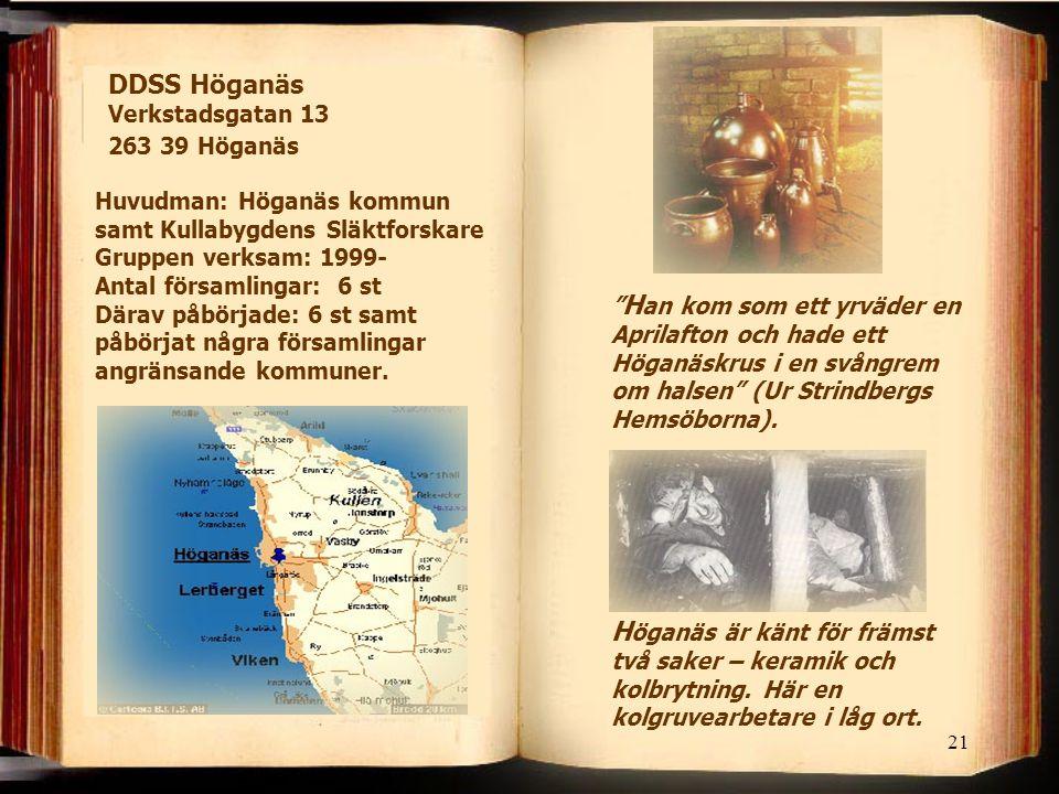 """21 DDSS Höganäs Verkstadsgatan 13 263 39 Höganäs H öganäs är känt för främst två saker – keramik och kolbrytning. Här en kolgruvearbetare i låg ort. """""""