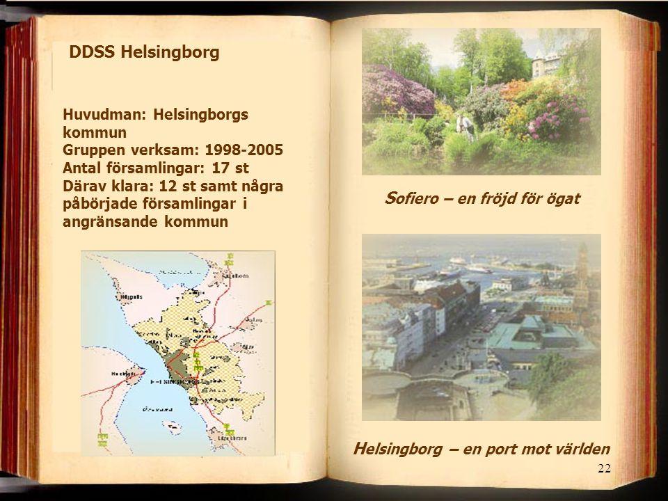 22 DDSS Helsingborg H elsingborg – en port mot världen S ofiero – en fröjd för ögat Huvudman: Helsingborgs kommun Gruppen verksam: 1998-2005 Antal för