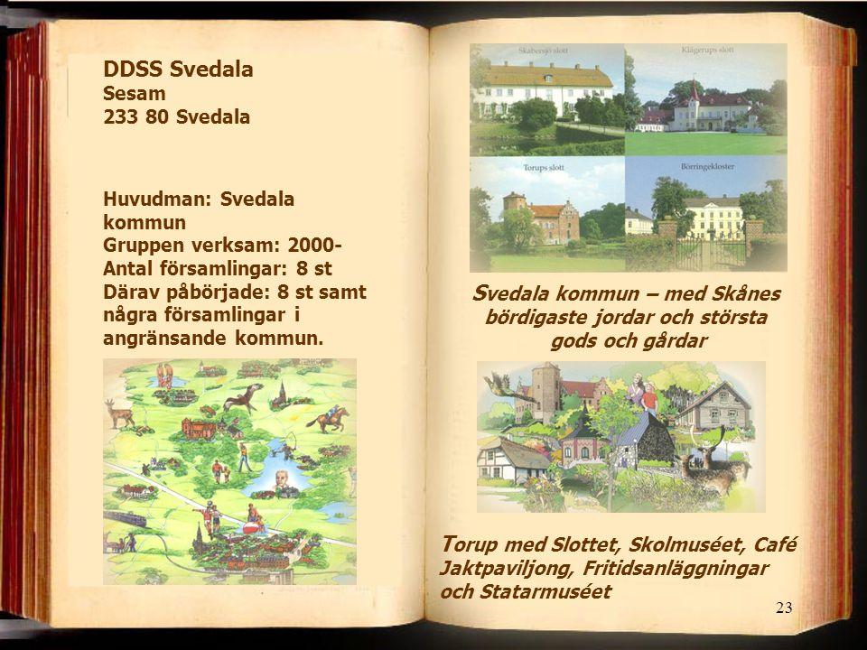 23 S vedala kommun – med Skånes bördigaste jordar och största gods och gårdar DDSS Svedala Sesam 233 80 Svedala Huvudman: Svedala kommun Gruppen verks