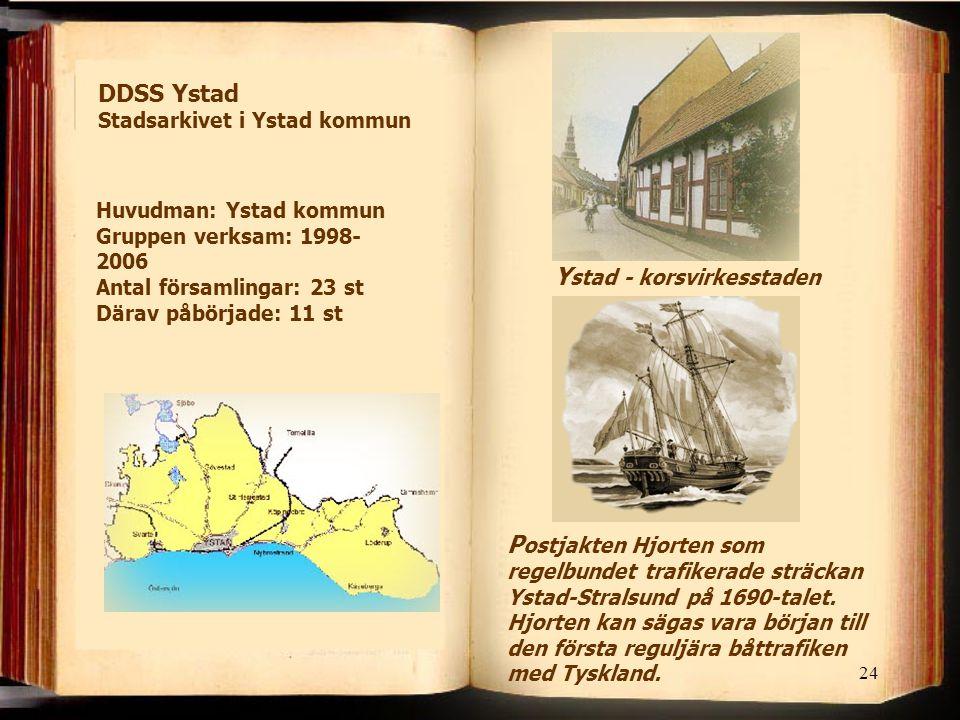 24 Y stad - korsvirkesstaden P ostjakten Hjorten som regelbundet trafikerade sträckan Ystad-Stralsund på 1690-talet. Hjorten kan sägas vara början til