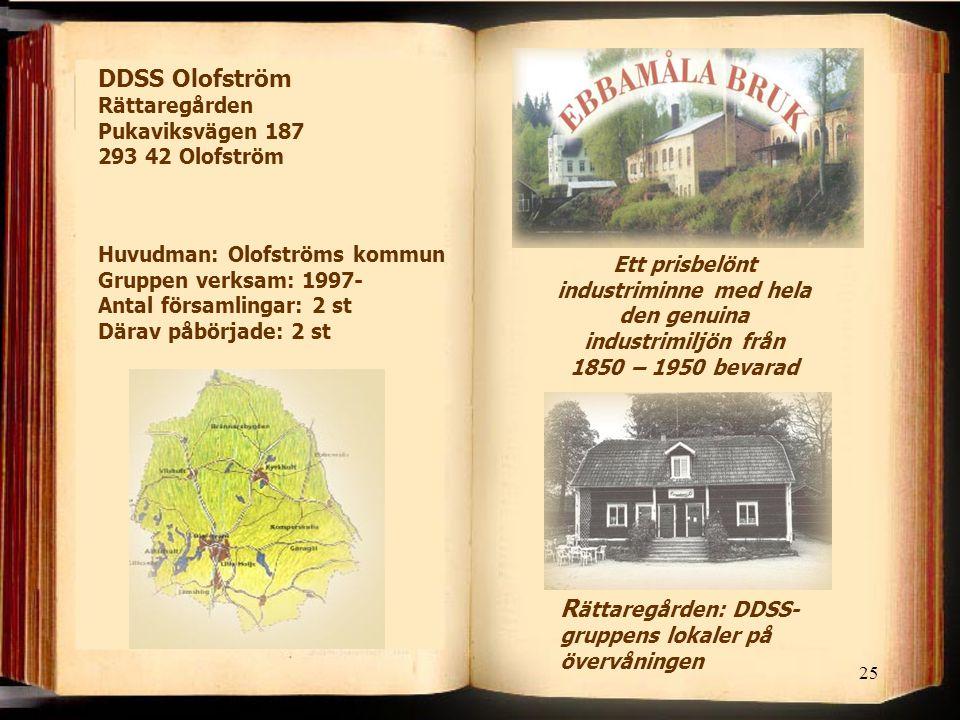25 R ättaregården: DDSS- gruppens lokaler på övervåningen Ett prisbelönt industriminne med hela den genuina industrimiljön från 1850 – 1950 bevarad DD