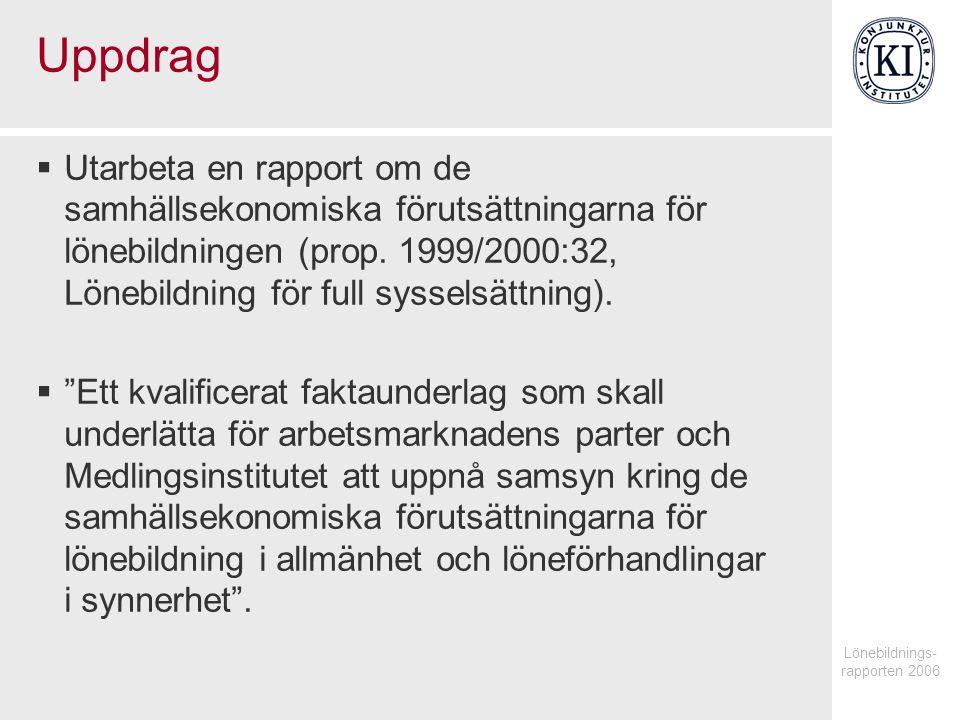 Uppdrag  Utarbeta en rapport om de samhällsekonomiska förutsättningarna för lönebildningen (prop.