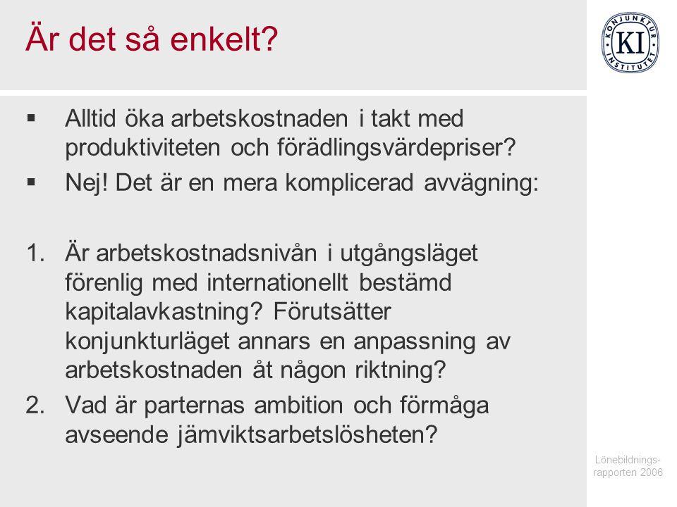 Lönebildnings- rapporten 2006 Är det så enkelt.