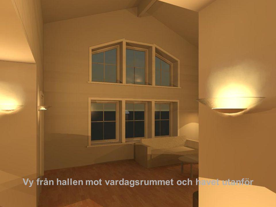 Plan 1 Indragna hörn minskar byggnadsarean och ger möjlighet till skyddande utrymmen under tak och en känsla av uterum i vardagsrummet.