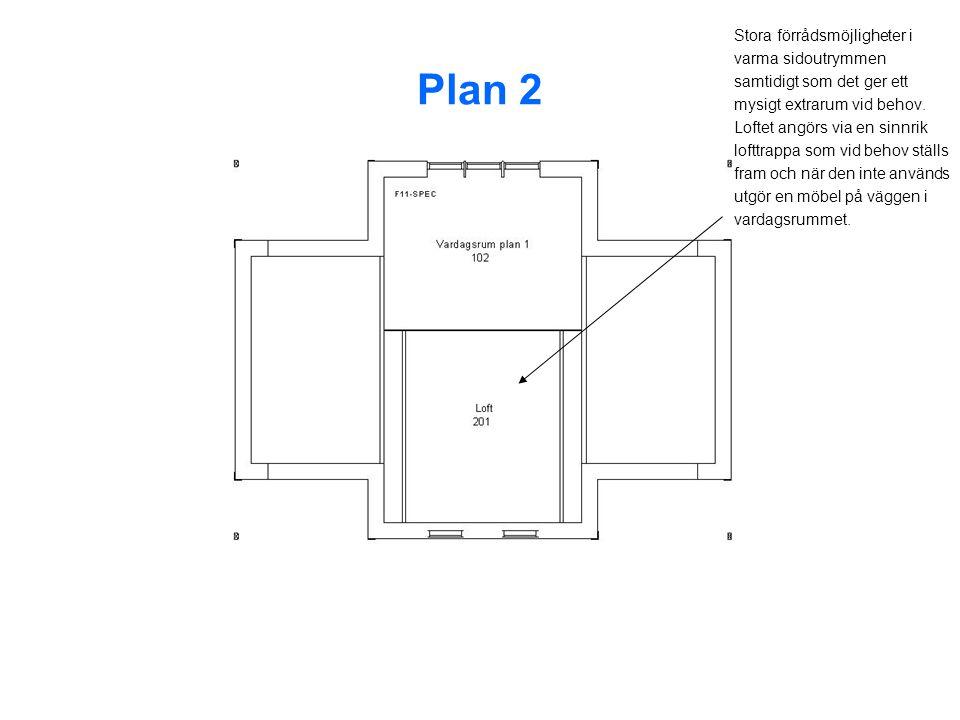 Plan 2 Stora förrådsmöjligheter i varma sidoutrymmen samtidigt som det ger ett mysigt extrarum vid behov.