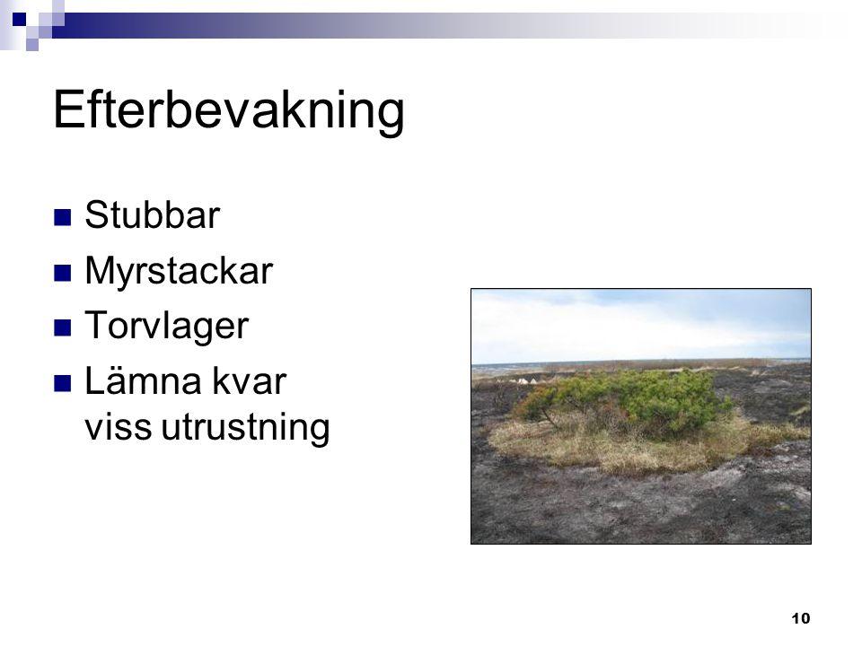 10 Efterbevakning  Stubbar  Myrstackar  Torvlager  Lämna kvar viss utrustning