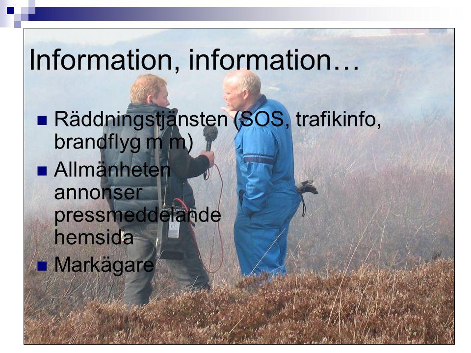 11 Information, information…  Räddningstjänsten (SOS, trafikinfo, brandflyg m m)  Allmänheten annonser pressmeddelande hemsida  Markägare