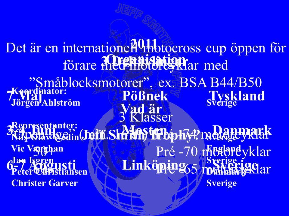 Vad är Jeff Smith Trophy? Organisation Koordinator: Jörgen Ahlström Sverige Representanter: Nils-Olov Wedin Sverige Vic Vaughan England Jan Isgren Sve
