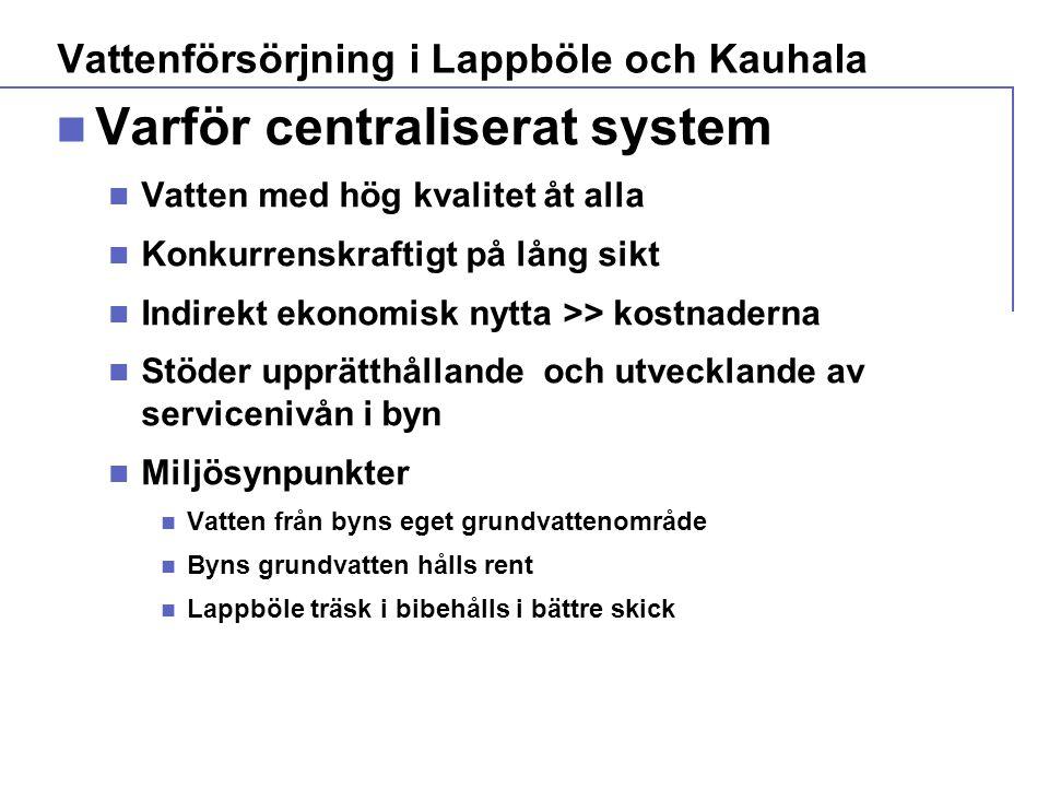  Varför centraliserat system  Vatten med hög kvalitet åt alla  Konkurrenskraftigt på lång sikt  Indirekt ekonomisk nytta >> kostnaderna  Stöder upprätthållande och utvecklande av servicenivån i byn  Miljösynpunkter  Vatten från byns eget grundvattenområde  Byns grundvatten hålls rent  Lappböle träsk i bibehålls i bättre skick Vattenförsörjning i Lappböle och Kauhala