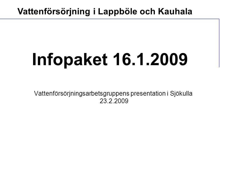  Avloppsvattenförordning 542/2003  Belastningen bör minska  - 90% organiskt material  - 85% fosfor  - 40 % kväve Vattenförsörjning i Lappböle och Kauhala