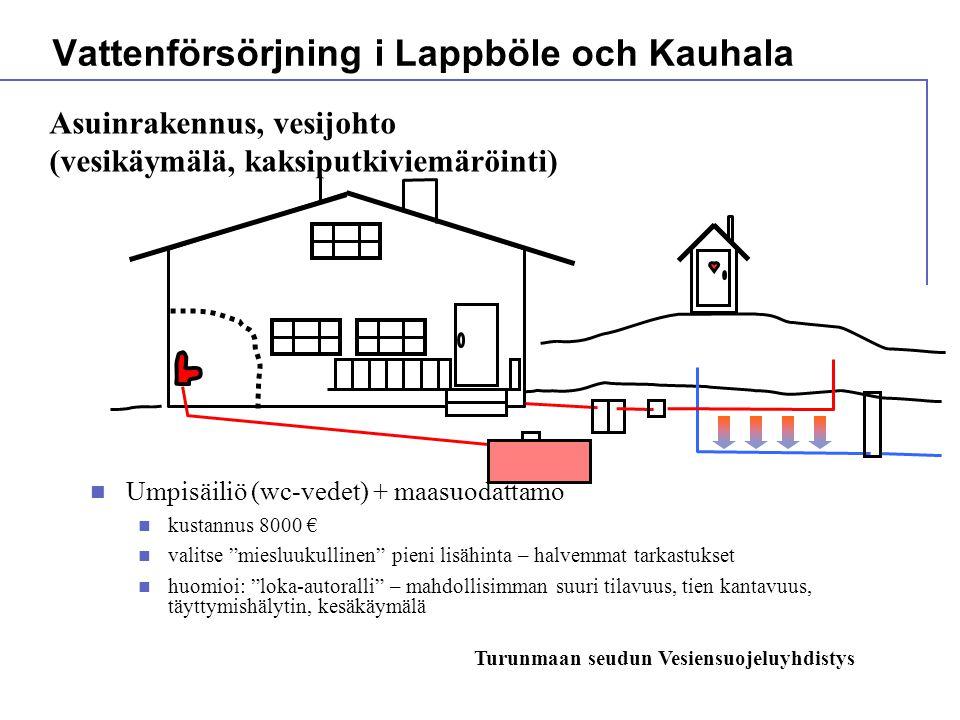  Umpisäiliö (wc-vedet) + maasuodattamo  kustannus 8000 €  valitse miesluukullinen pieni lisähinta – halvemmat tarkastukset  huomioi: loka-autoralli – mahdollisimman suuri tilavuus, tien kantavuus, täyttymishälytin, kesäkäymälä Vattenförsörjning i Lappböle och Kauhala Asuinrakennus, vesijohto (vesikäymälä, kaksiputkiviemäröinti) Turunmaan seudun Vesiensuojeluyhdistys