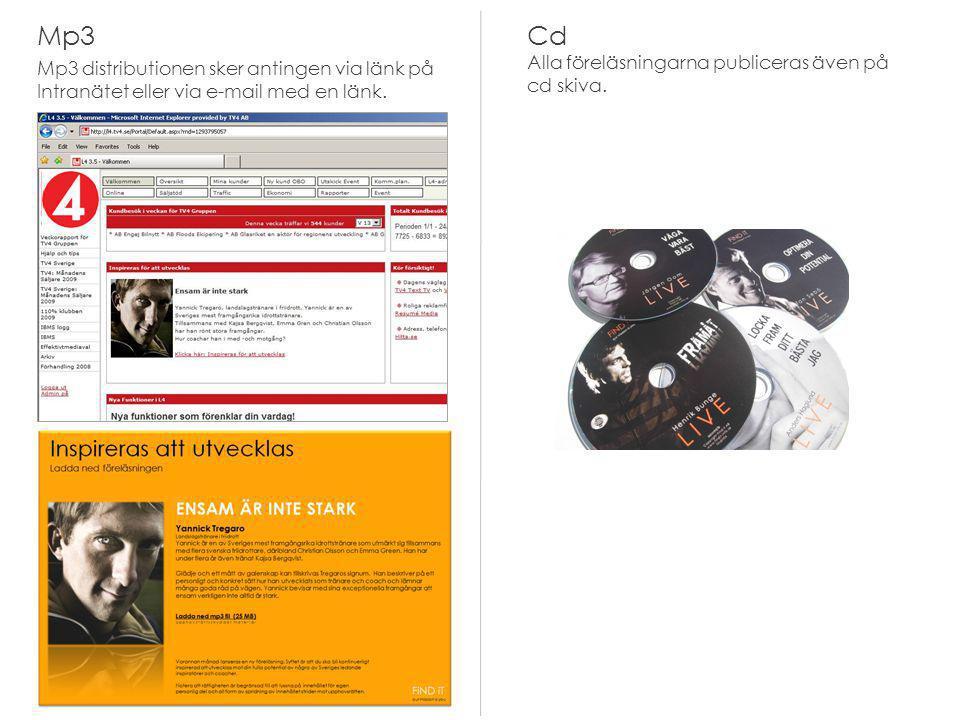 Mp3 Mp3 distributionen sker antingen via länk på Intranätet eller via e-mail med en länk. Cd Alla föreläsningarna publiceras även på cd skiva.