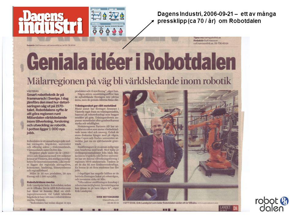 Dagens Industri, 2006-09-21 – ett av många pressklipp (ca 70 / år) om Robotdalen