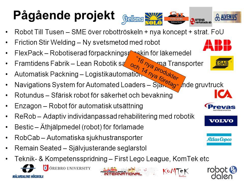 Pågående projekt •Robot Till Tusen – SME över robottröskeln + nya koncept + strat. FoU •Friction Stir Welding – Ny svetsmetod med robot •FlexPack – Ro