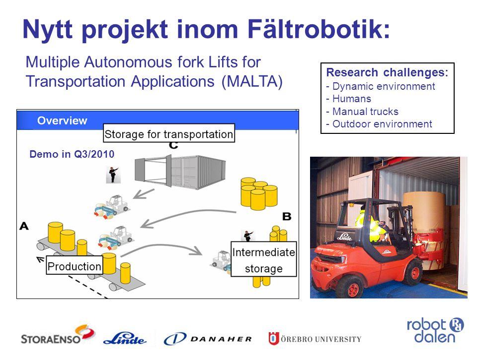 Nytt projekt inom Fältrobotik: Multiple Autonomous fork Lifts for Transportation Applications (MALTA) Research challenges: - Dynamic environment - Hum