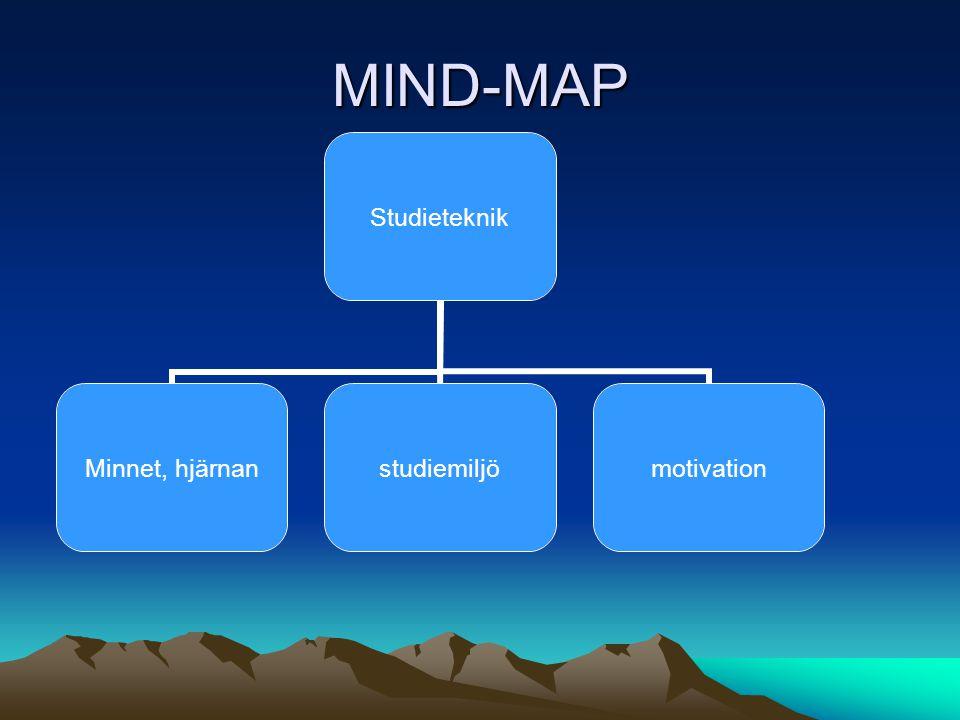 MIND-MAP Studieteknik Minnet, hjärnan studiemiljömotivation