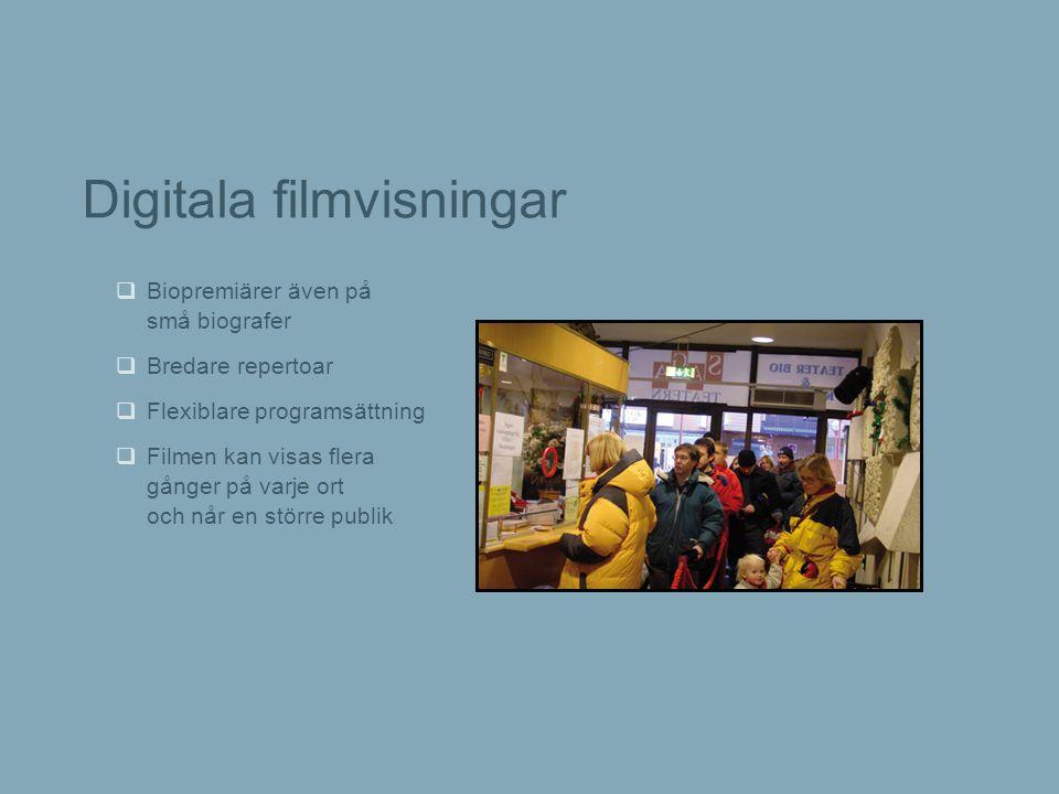 Digitala filmvisningar  Biopremiärer även på små biografer  Bredare repertoar  Flexiblare programsättning  Filmen kan visas flera gånger på varje