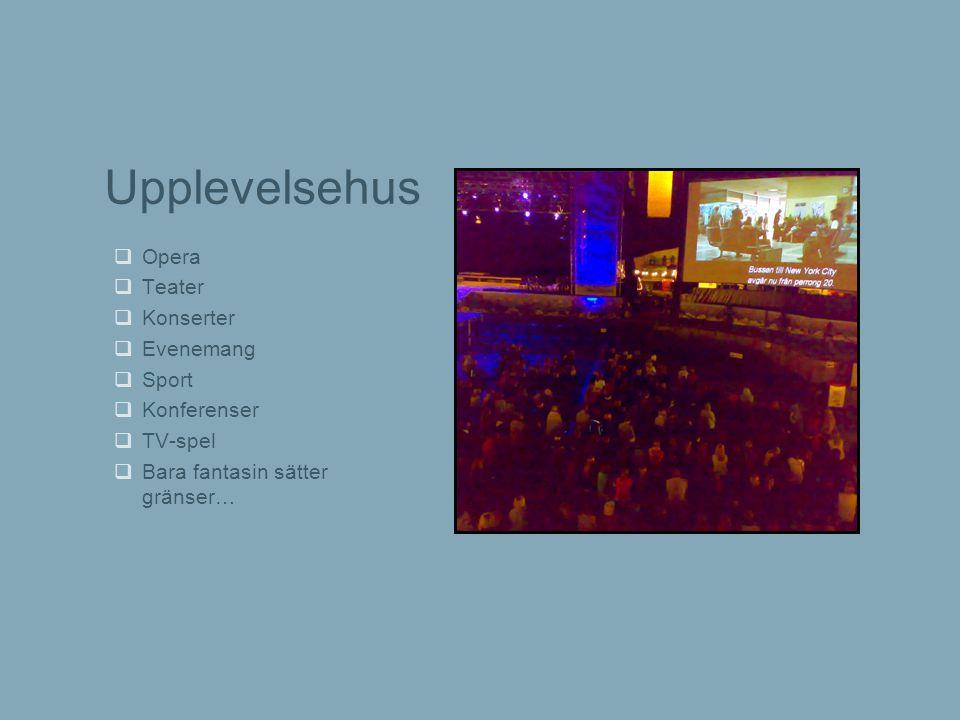 Upplevelsehus  Opera  Teater  Konserter  Evenemang  Sport  Konferenser  TV-spel  Bara fantasin sätter gränser…