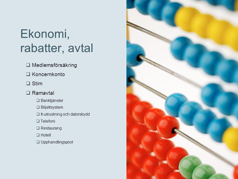 Ekonomi, rabatter, avtal  Medlemsförsäkring  Koncernkonto  Stim  Ramavtal  Banktjänster  Biljettsystem  It-utrustning och datorskydd  Telefoni