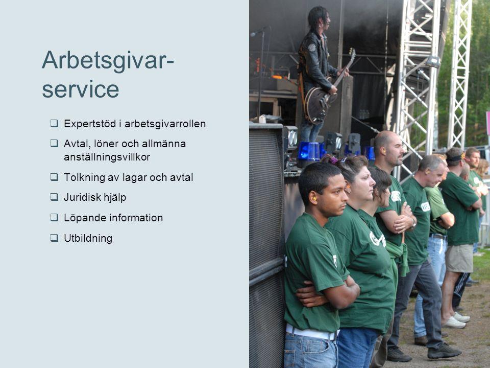 Arbetsgivar- service  Expertstöd i arbetsgivarrollen  Avtal, löner och allmänna anställningsvillkor  Tolkning av lagar och avtal  Juridisk hjälp 