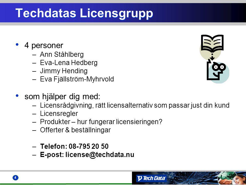 4 • 4 personer –Ann Ståhlberg –Eva-Lena Hedberg –Jimmy Hending –Eva Fjällström-Myhrvold • som hjälper dig med: –Licensrådgivning, rätt licensalternati