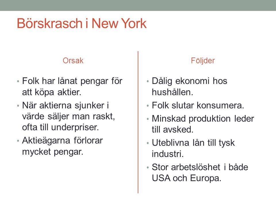 Börskrasch i New York Orsak • Folk har lånat pengar för att köpa aktier.