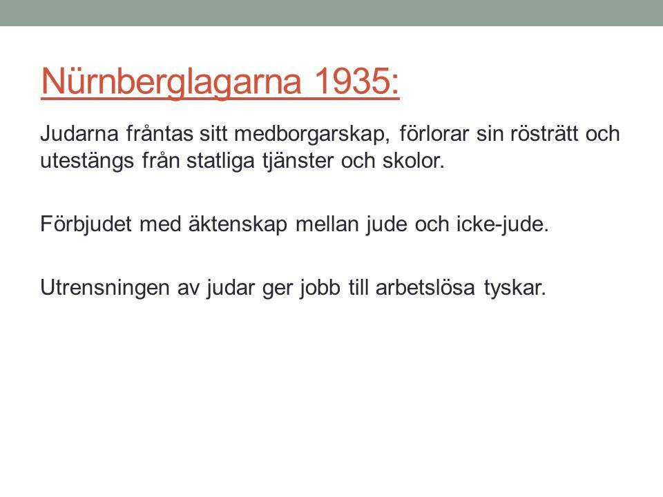 Nürnberglagarna 1935: Judarna fråntas sitt medborgarskap, förlorar sin rösträtt och utestängs från statliga tjänster och skolor.