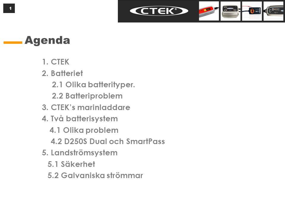 1 Agenda 1. CTEK 2. Batteriet 2.1 Olika batterityper. 2.2 Batteriproblem 3. CTEK's marinladdare 4. Två batterisystem 4.1 Olika problem 4.2 D250S Dual