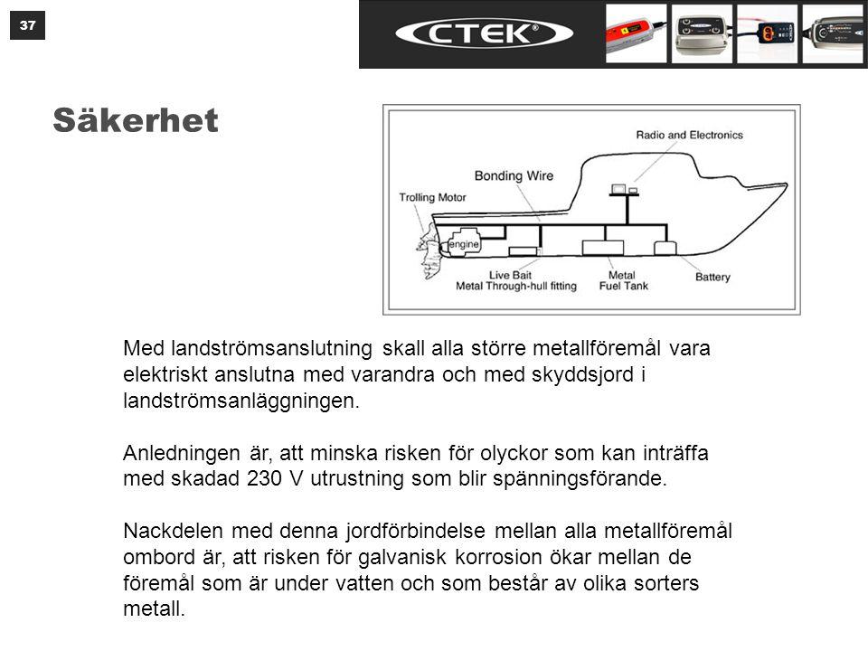 Säkerhet 37 Med landströmsanslutning skall alla större metallföremål vara elektriskt anslutna med varandra och med skyddsjord i landströmsanläggningen