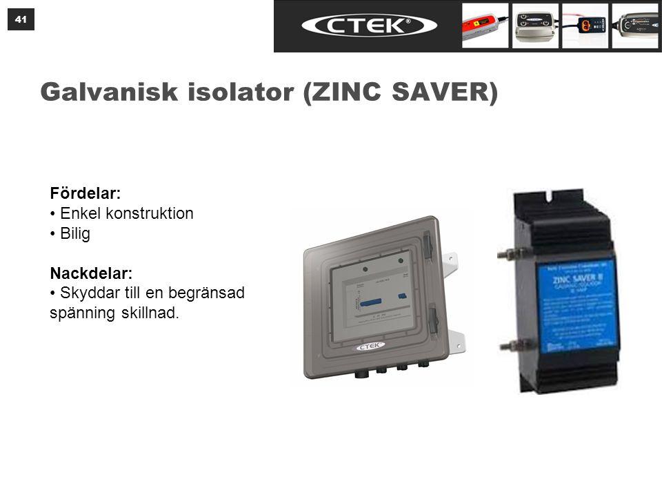 Galvanisk isolator (ZINC SAVER) 41 Fördelar: • Enkel konstruktion • Bilig Nackdelar: • Skyddar till en begränsad spänning skillnad.