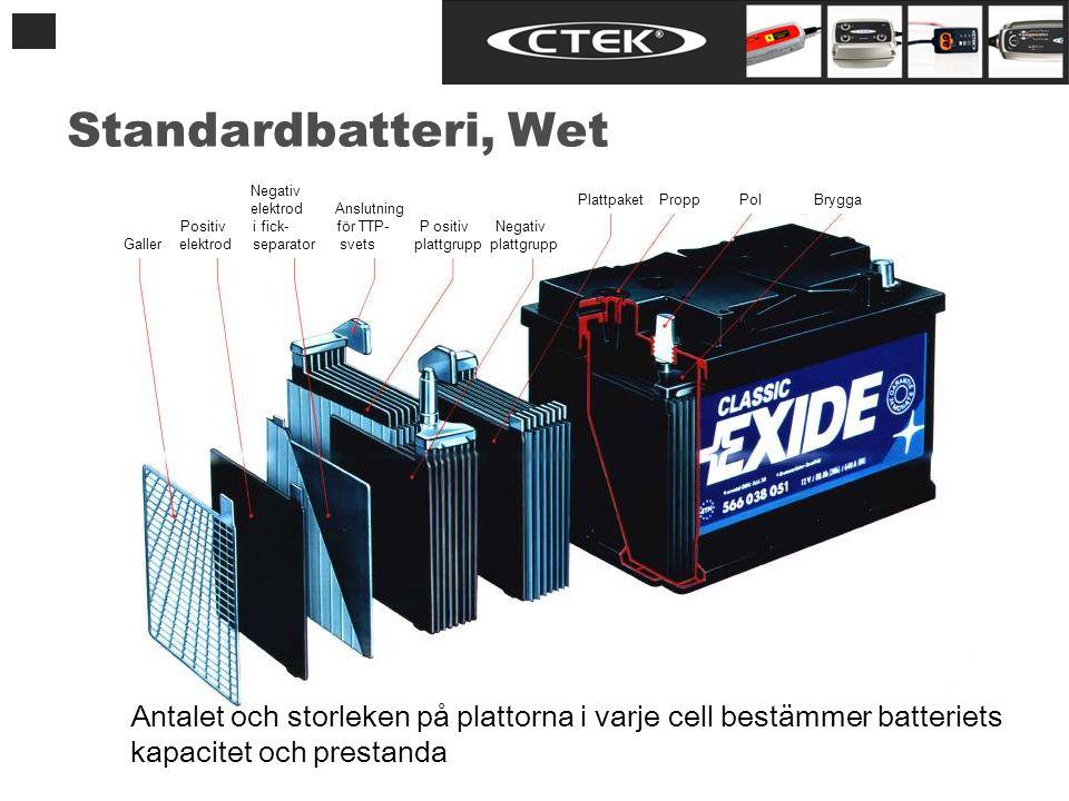Antalet och storleken på plattorna i varje cell bestämmer batteriets kapacitet och prestanda Standardbatteri, Wet Negativ elektrod Anslutning Positiv