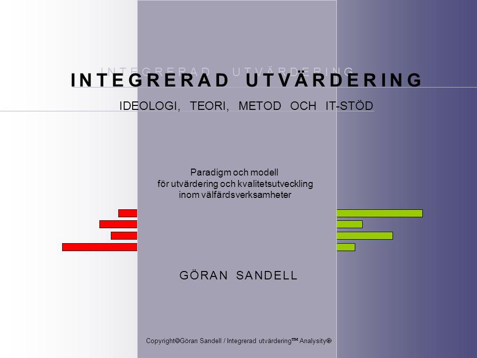 © Göran Sandell / Integrerad utvärdering ™ Analysity® VISS MÅLGRUPP ÅR x NY MÅLGRUPP ÅR y Vissa målgrupps- kriterier och insatser samma kriterier och insatser ( men inte säkert samma individer ) ANALYSERA RESULTAT Resultaten påverkas av om insatserna pågår, har avslutats eller avbrutits.