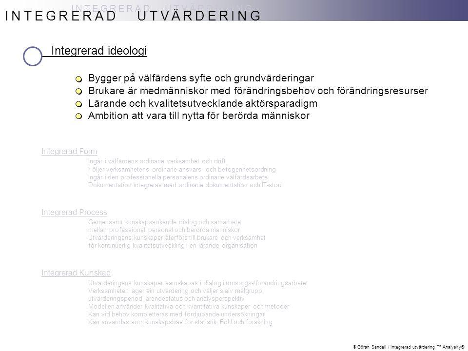 © Göran Sandell / Integrerad utvärdering ™ Analysity® INTEGRERAD UTVÄRDERING Integrerad ideologi Bygger på välfärdens syfte och grundvärderingar Bruka