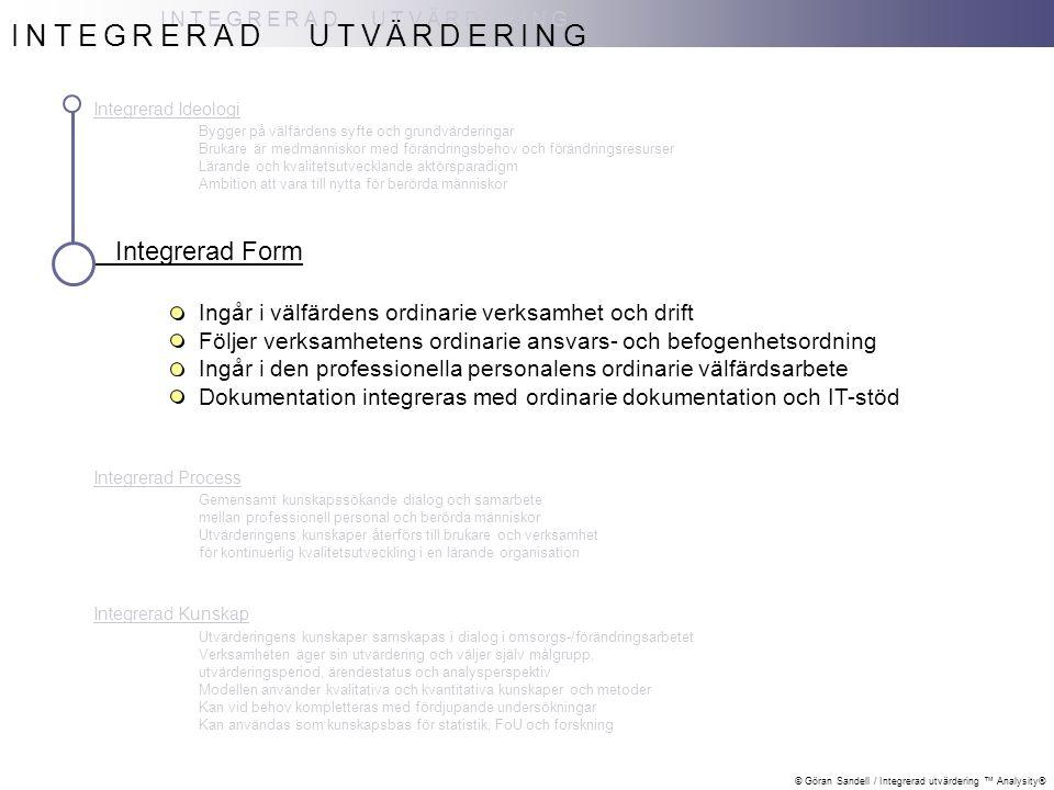 © Göran Sandell / Integrerad utvärdering ™ Analysity® Integrerad Ideologi Bygger på välfärdens syfte och grundvärderingar Brukare är medmänniskor med