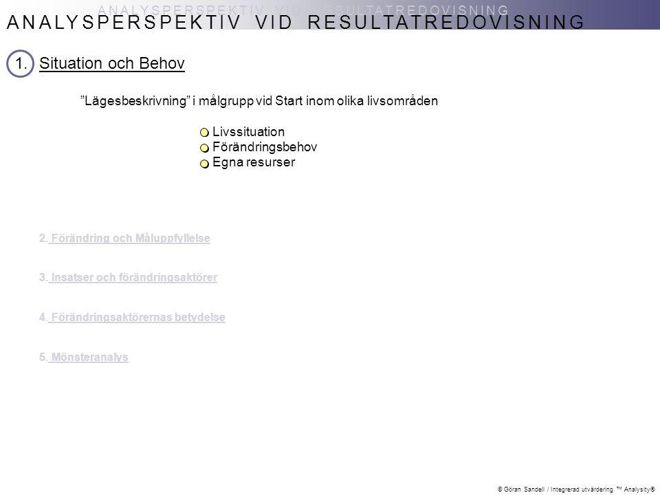 """© Göran Sandell / Integrerad utvärdering ™ Analysity® ANALYSPERSPEKTIV VID RESULTATREDOVISNING 1.Situation och Behov """"Lägesbeskrivning"""" i målgrupp vid"""