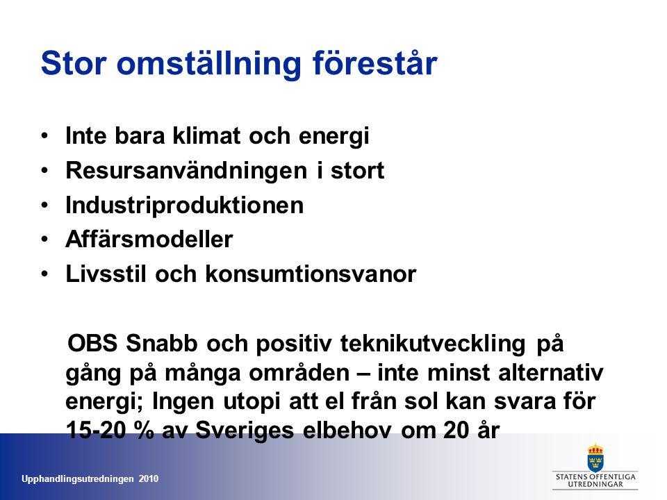 Upphandlingsutredningen 2010 Stor omställning förestår •Inte bara klimat och energi •Resursanvändningen i stort •Industriproduktionen •Affärsmodeller •Livsstil och konsumtionsvanor OBS Snabb och positiv teknikutveckling på gång på många områden – inte minst alternativ energi; Ingen utopi att el från sol kan svara för 15-20 % av Sveriges elbehov om 20 år