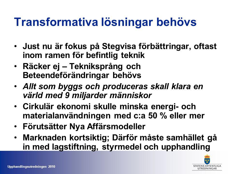 Upphandlingsutredningen 2010 Transformativa lösningar behövs •Just nu är fokus på Stegvisa förbättringar, oftast inom ramen för befintlig teknik •Räck
