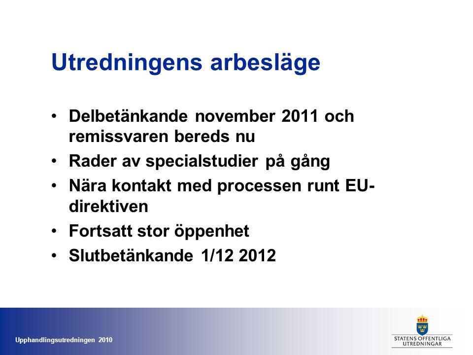 Upphandlingsutredningen 2010 Utredningens arbesläge •Delbetänkande november 2011 och remissvaren bereds nu •Rader av specialstudier på gång •Nära kontakt med processen runt EU- direktiven •Fortsatt stor öppenhet •Slutbetänkande 1/12 2012