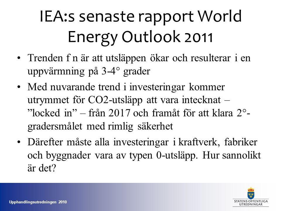 Upphandlingsutredningen 2010 IEA:s senaste rapport World Energy Outlook 2011 •Trenden f n är att utsläppen ökar och resulterar i en uppvärmning på 3-4° grader •Med nuvarande trend i investeringar kommer utrymmet för CO2-utsläpp att vara intecknat – locked in – från 2017 och framåt för att klara 2°- gradersmålet med rimlig säkerhet •Därefter måste alla investeringar i kraftverk, fabriker och byggnader vara av typen 0-utsläpp.