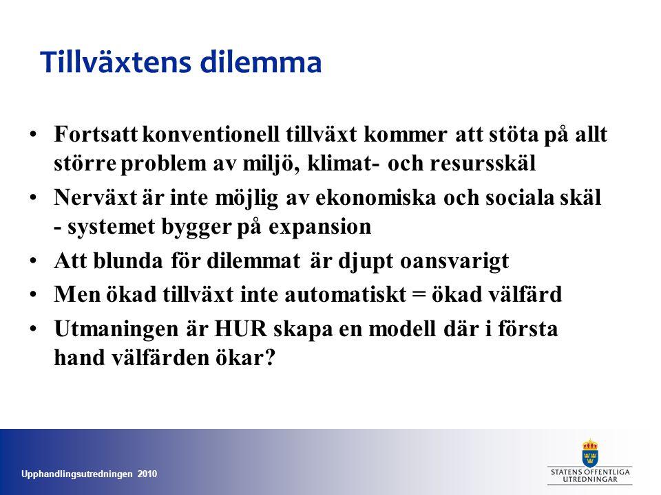 Upphandlingsutredningen 2010 Tillväxtens dilemma •Fortsatt konventionell tillväxt kommer att stöta på allt större problem av miljö, klimat- och resurs