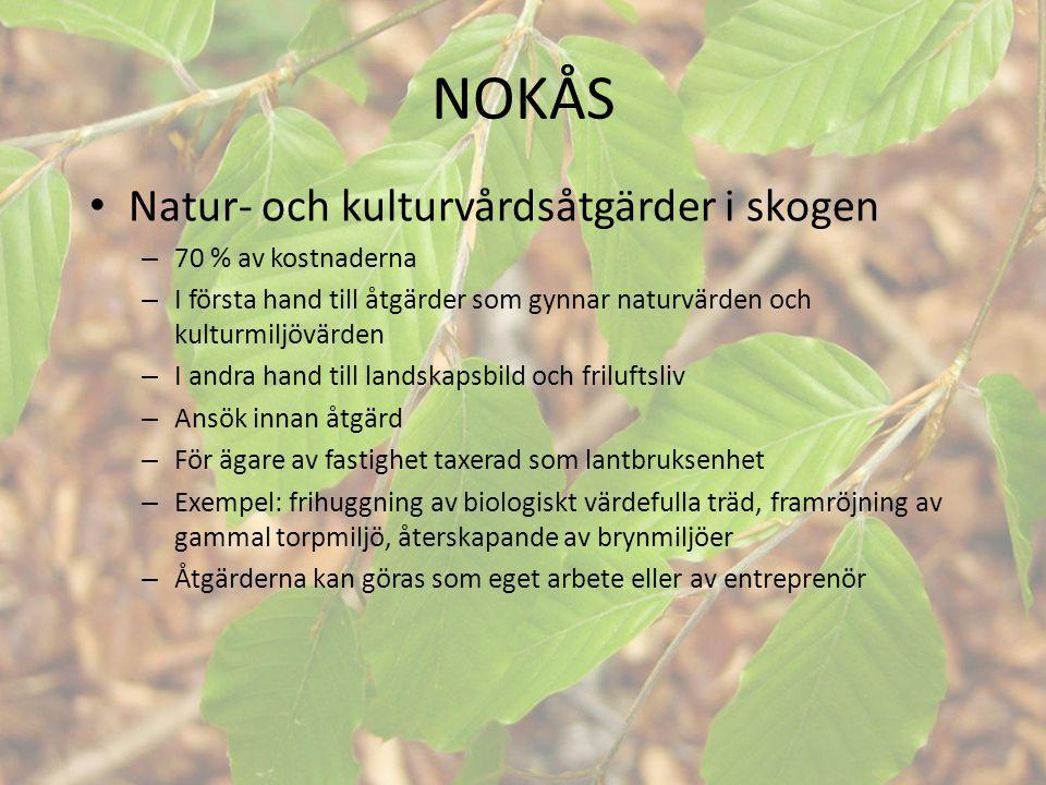 NOKÅS • Natur- och kulturvårdsåtgärder i skogen – 70 % av kostnaderna – I första hand till åtgärder som gynnar naturvärden och kulturmiljövärden – I a