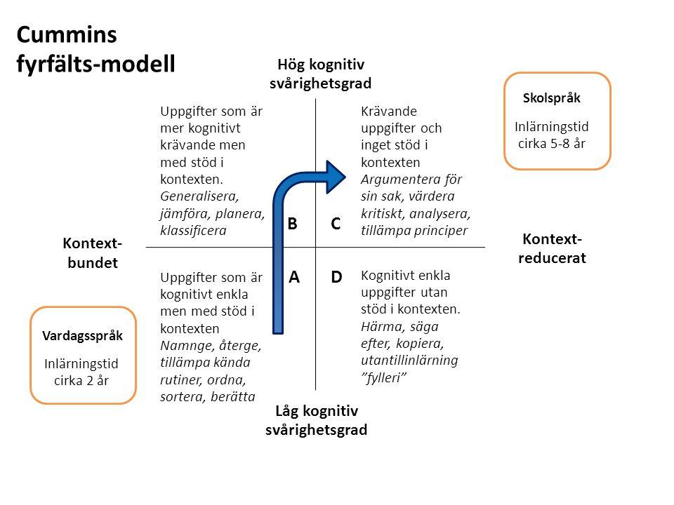 Uppgifter som är mer kognitivt krävande men med stöd i kontexten. Generalisera, jämföra, planera, klassificera Uppgifter som är kognitivt enkla men me
