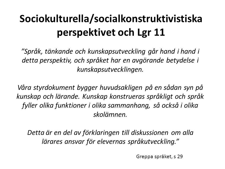 """Sociokulturella/socialkonstruktivistiska perspektivet och Lgr 11 """"Språk, tänkande och kunskapsutveckling går hand i hand i detta perspektiv, och språk"""