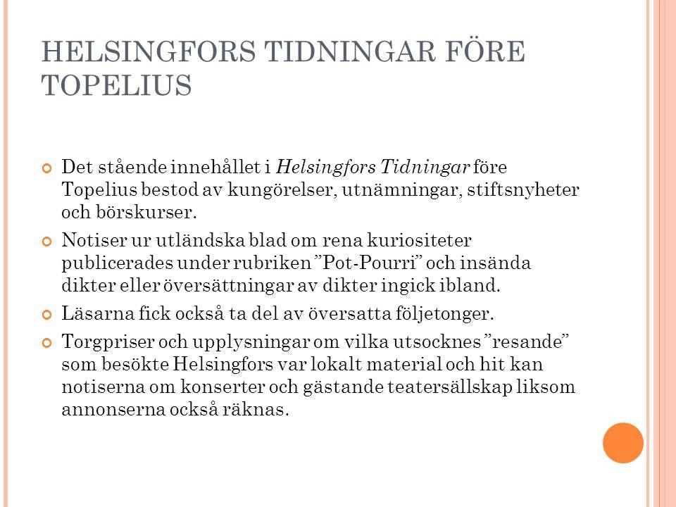 HELSINGFORS TIDNINGAR FÖRE TOPELIUS Det stående innehållet i Helsingfors Tidningar före Topelius bestod av kungörelser, utnämningar, stiftsnyheter och